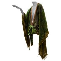 Torso Creations Moss Green Ombré Silk Jersey Mini Robe W/ Voluminous Silk Sleeve