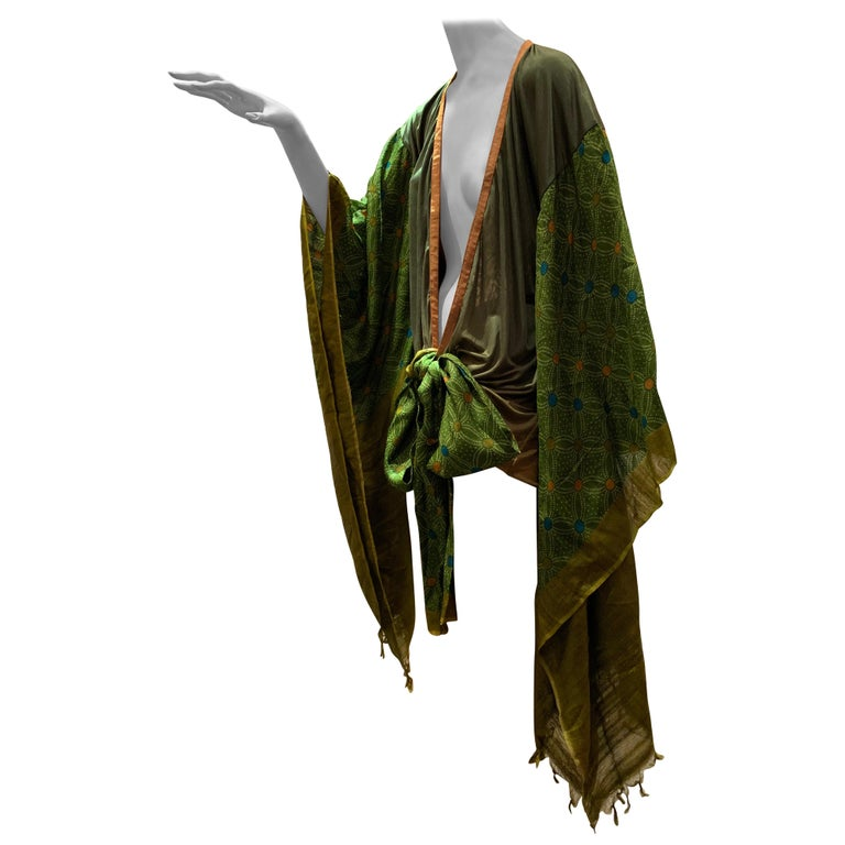 Torso Creations Moss Green Ombré Silk Jersey Mini Robe W/ Voluminous Silk Sleeve For Sale