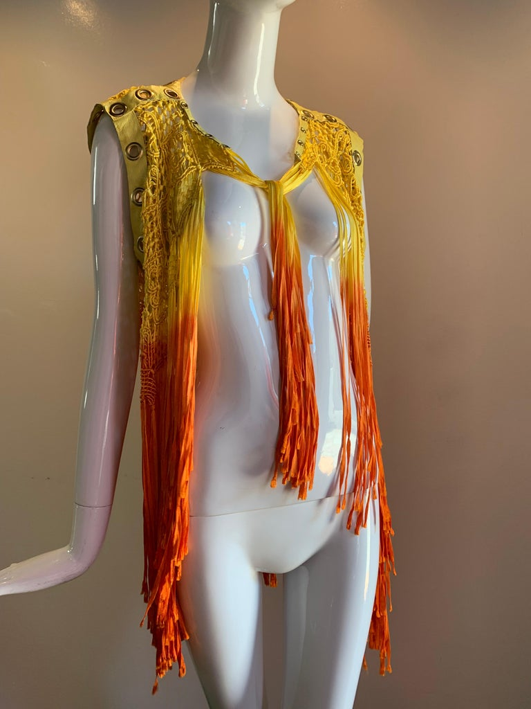 Torso Creations Ombre-Dyed Canary Macrame Vest W/ Leather And Eyelet Trim  For Sale 7