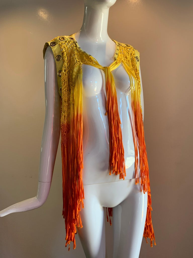 Torso Creations Ombre-Dyed Canary Macrame Vest W/ Leather And Eyelet Trim  For Sale 8