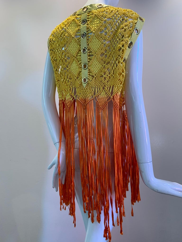 Torso Creations Ombre-Dyed Canary Macrame Vest W/ Leather And Eyelet Trim  For Sale 2