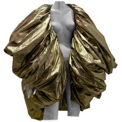 Torso Creations Over Sized Gold Lame Balloon Cocoon Cape Coat