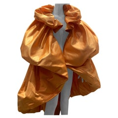 Torso Creations Over Sized Marigold Silk Duchess Satin Balloon Cocoon Cape Coat