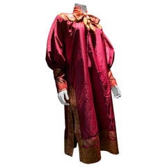 Torso Creations Peasant-Style Tunic Dress Styled From Burgundy & Gold Silk Sari