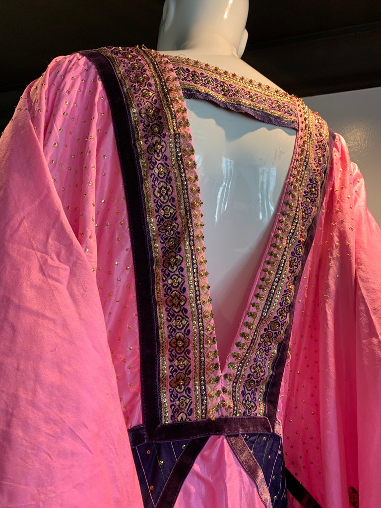 Torso Creations Pink Purple & Green Silk Caftan W/ Open Back Embroidery Trim For Sale 5