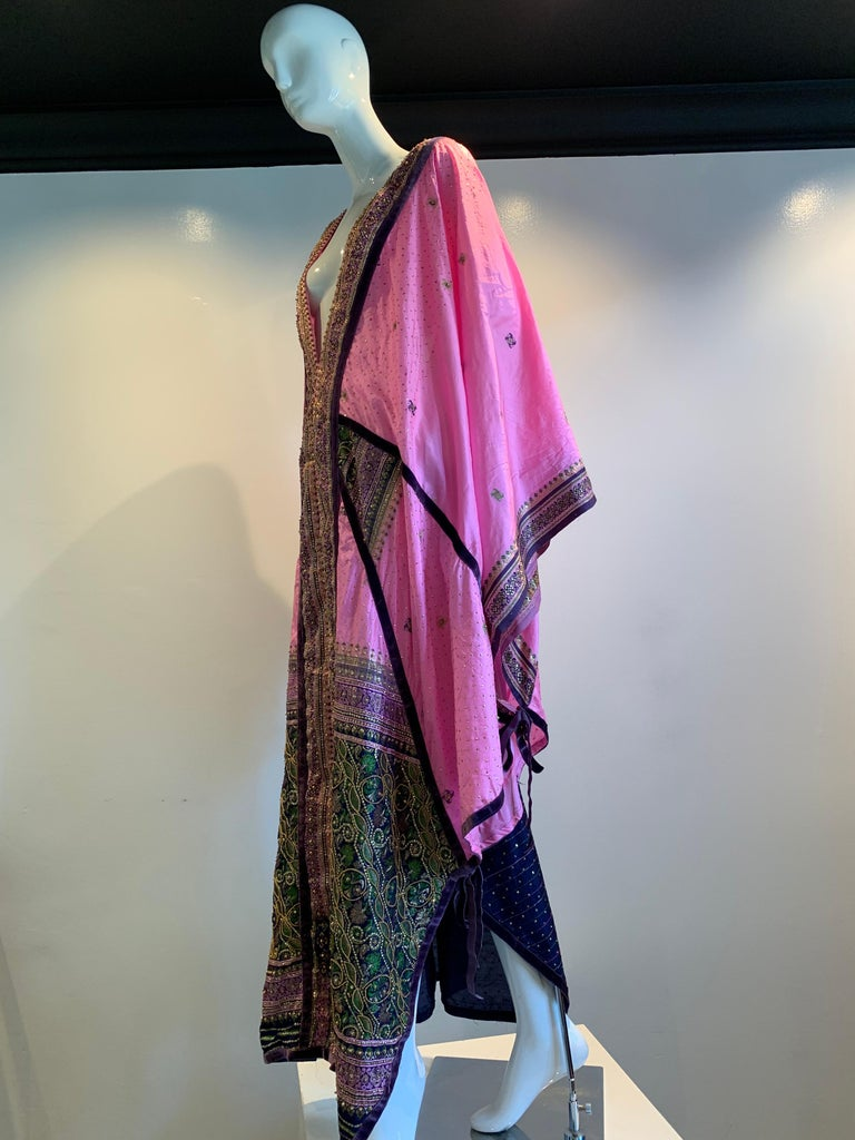 Torso Creations Pink Purple & Green Silk Caftan W/ Open Back Embroidery Trim For Sale 6