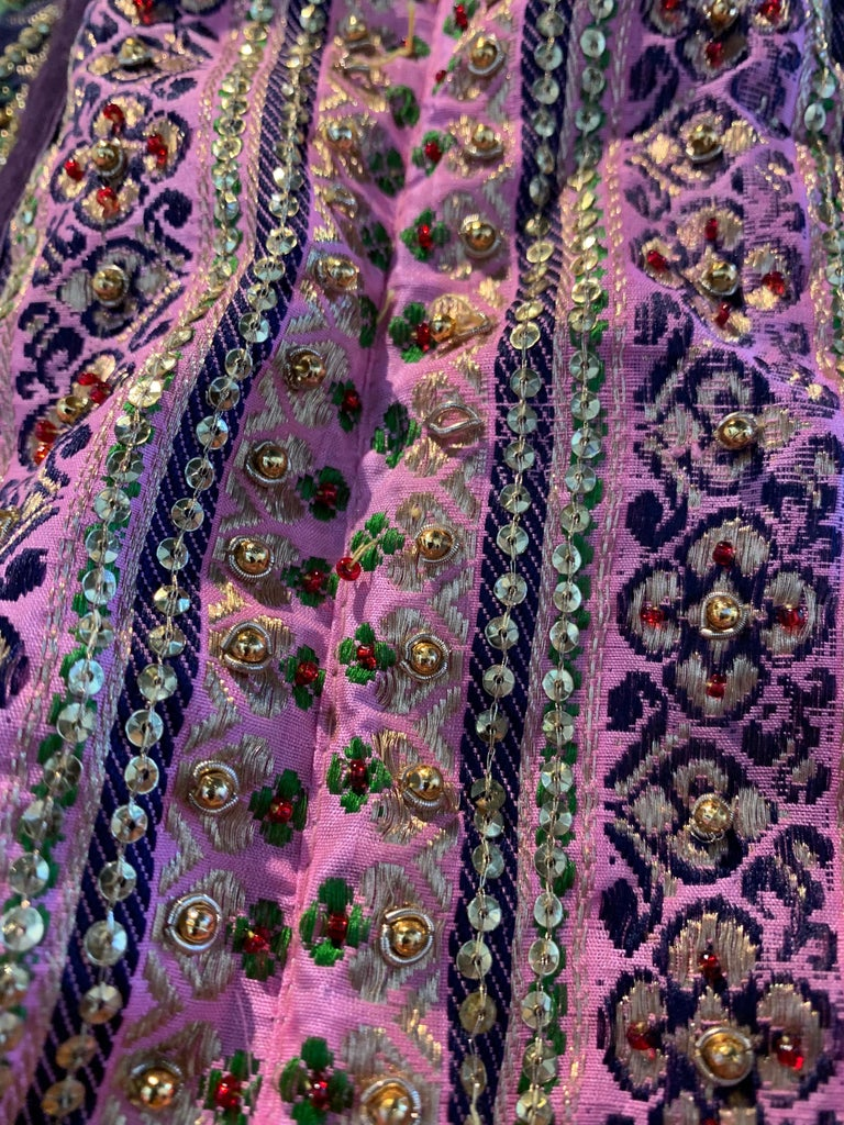 Torso Creations Pink Purple & Green Silk Caftan W/ Open Back Embroidery Trim For Sale 7