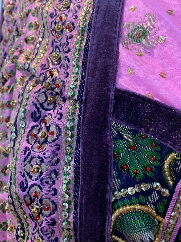 Torso Creations Pink Purple & Green Silk Caftan W/ Open Back Embroidery Trim For Sale 8
