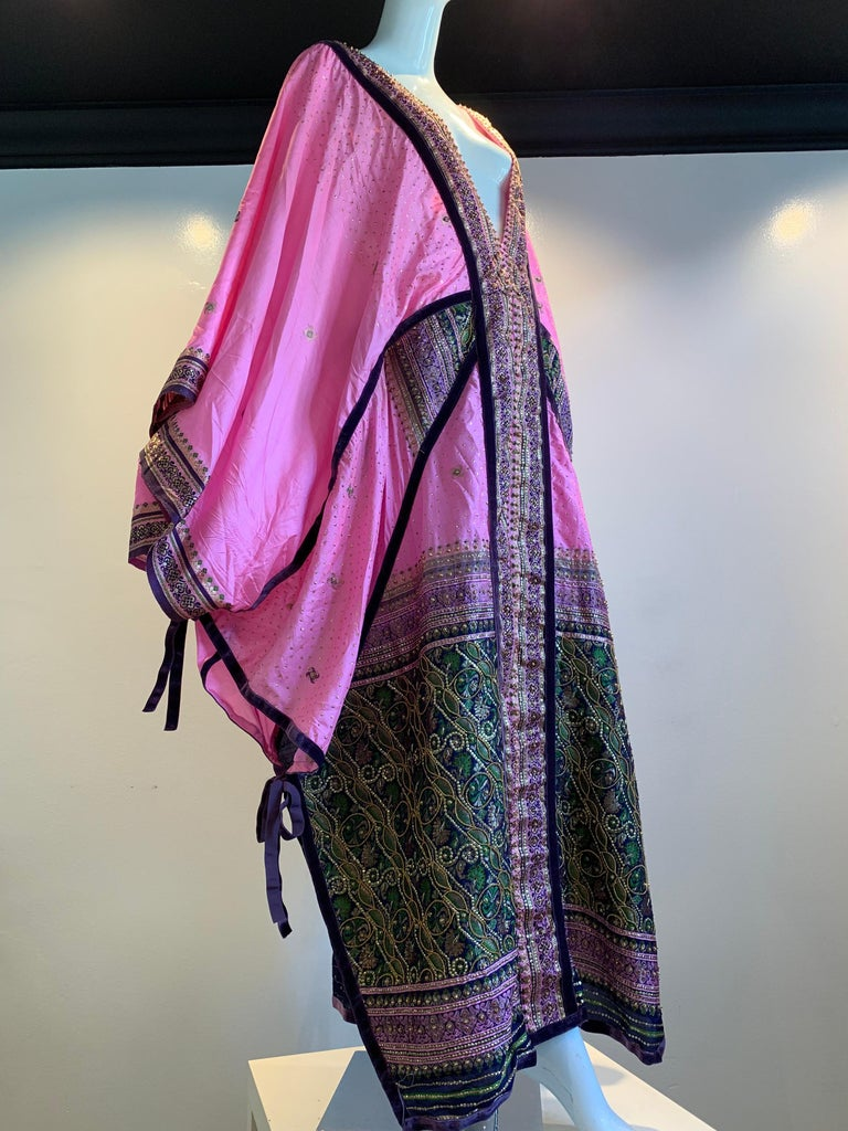 Torso Creations Pink Purple & Green Silk Caftan W/ Open Back Embroidery Trim For Sale 10