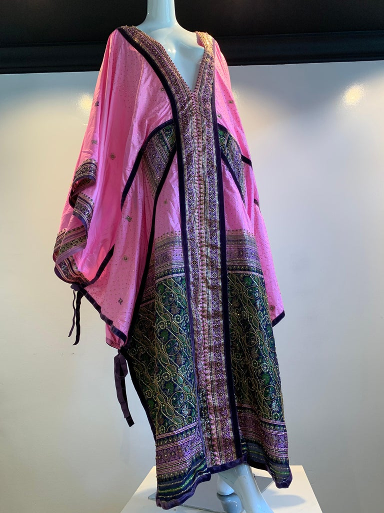 Torso Creations Pink Purple & Green Silk Caftan W/ Open Back Embroidery Trim For Sale 11