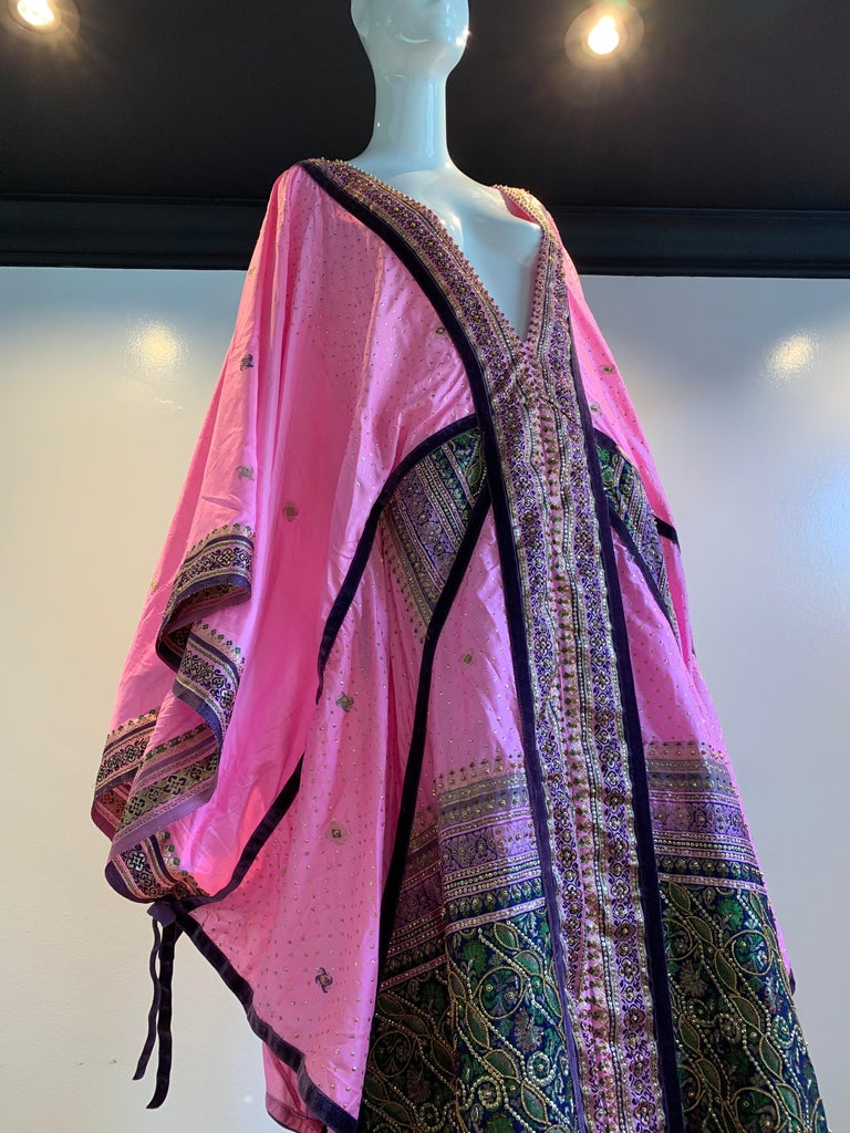 Torso Creations Pink Purple & Green Silk Caftan W/ Open Back Embroidery Trim For Sale 12