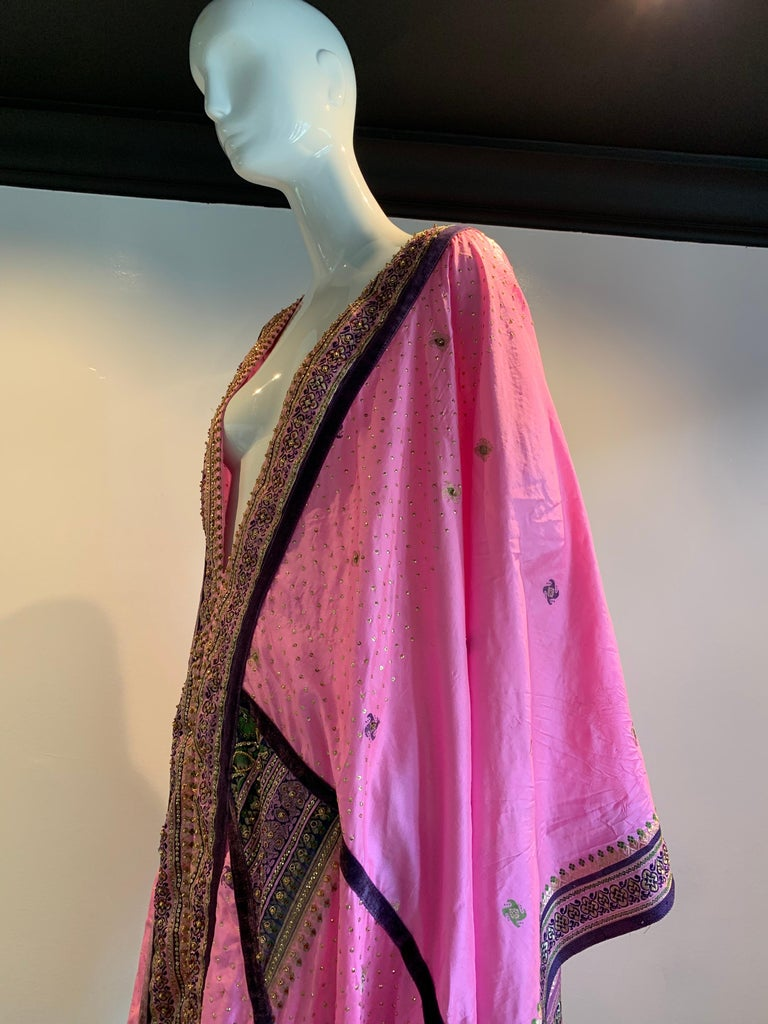 Torso Creations Pink Purple & Green Silk Caftan W/ Open Back Embroidery Trim For Sale 13