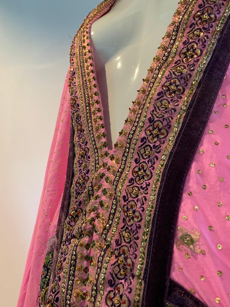 Torso Creations Pink Purple & Green Silk Caftan W/ Open Back Embroidery Trim For Sale 14