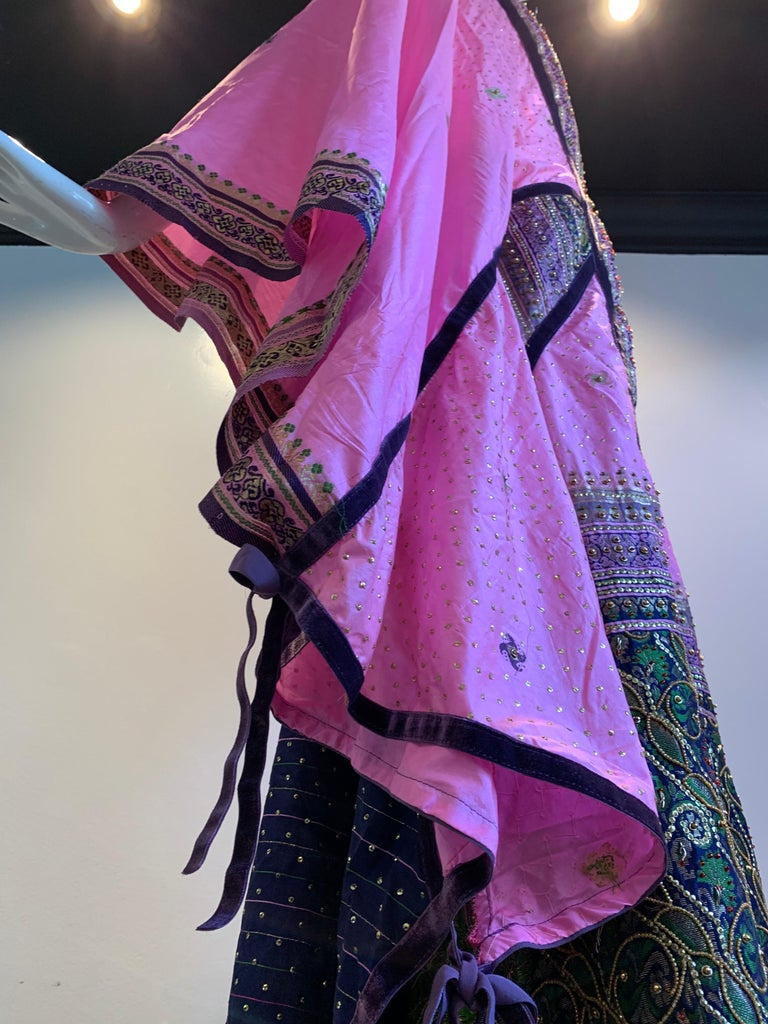 Torso Creations Pink Purple & Green Silk Caftan W/ Open Back Embroidery Trim For Sale 1