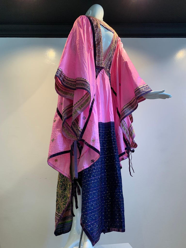 Torso Creations Pink Purple & Green Silk Caftan W/ Open Back Embroidery Trim For Sale 2
