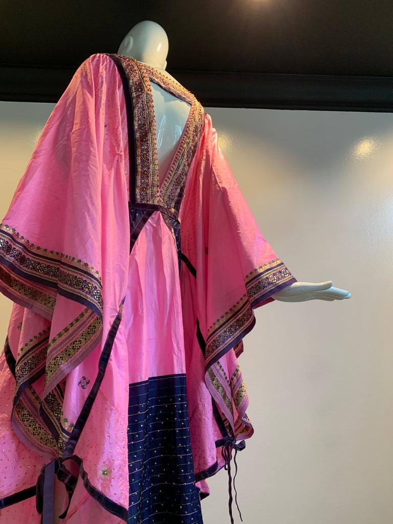 Torso Creations Pink Purple & Green Silk Caftan W/ Open Back Embroidery Trim For Sale 3
