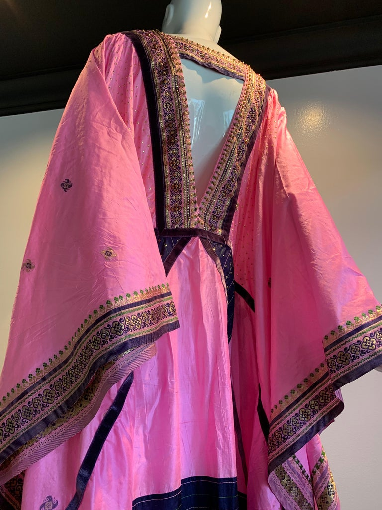 Torso Creations Pink Purple & Green Silk Caftan W/ Open Back Embroidery Trim For Sale 4