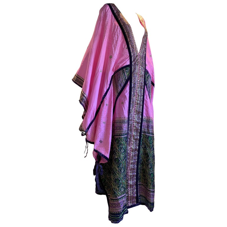 Torso Creations Pink Purple & Green Silk Caftan W/ Open Back Embroidery Trim For Sale