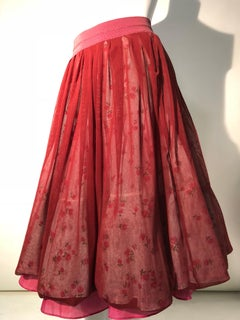 Torso Creations Reconstructed Multi-Layered Petticoat Skirt In Burgundy & Floral
