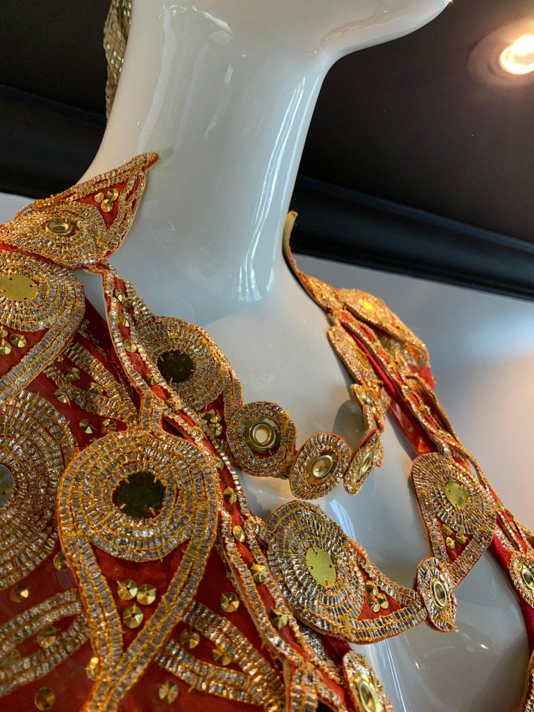 Torso Creations Red Silk Chiffon Caftan Heavily Embroidered W/ Gold & Sequins For Sale 6