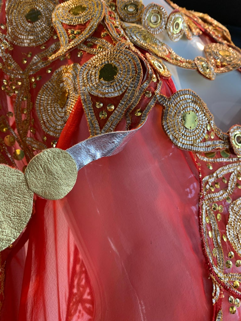 Torso Creations Red Silk Chiffon Caftan Heavily Embroidered W/ Gold & Sequins For Sale 7
