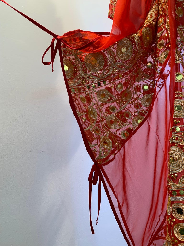 Torso Creations Red Silk Chiffon Caftan Heavily Embroidered W/ Gold & Sequins For Sale 9