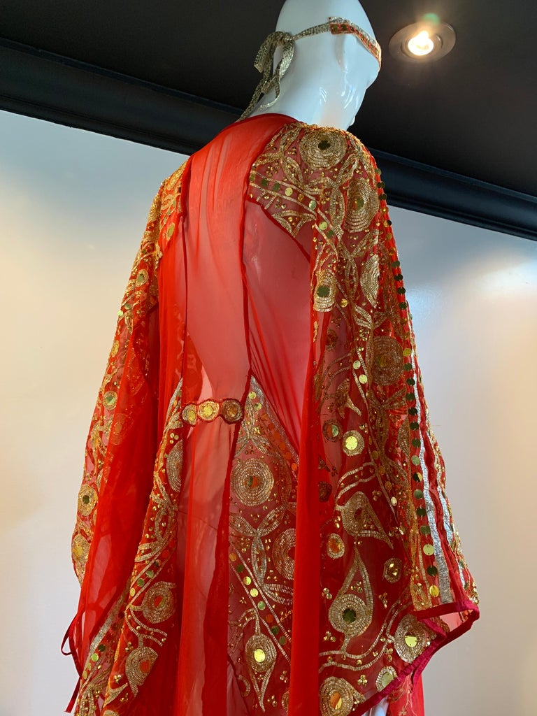 Torso Creations Red Silk Chiffon Caftan Heavily Embroidered W/ Gold & Sequins For Sale 10