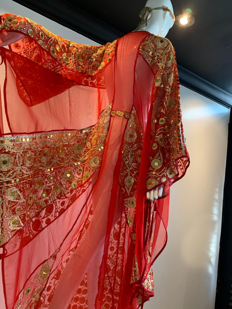 Torso Creations Red Silk Chiffon Caftan Heavily Embroidered W/ Gold & Sequins For Sale 11