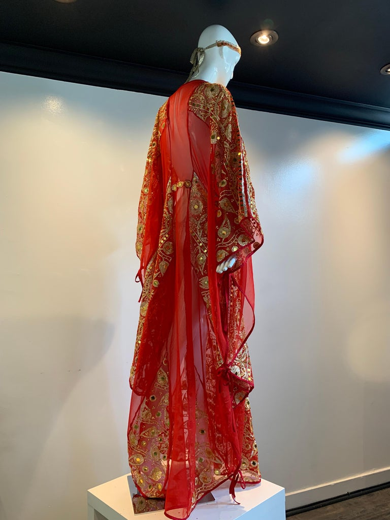 Torso Creations Red Silk Chiffon Caftan Heavily Embroidered W/ Gold & Sequins For Sale 12