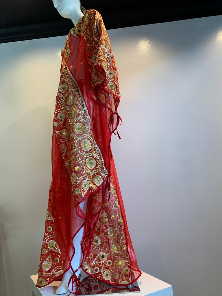 Torso Creations Red Silk Chiffon Caftan Heavily Embroidered W/ Gold & Sequins For Sale 13