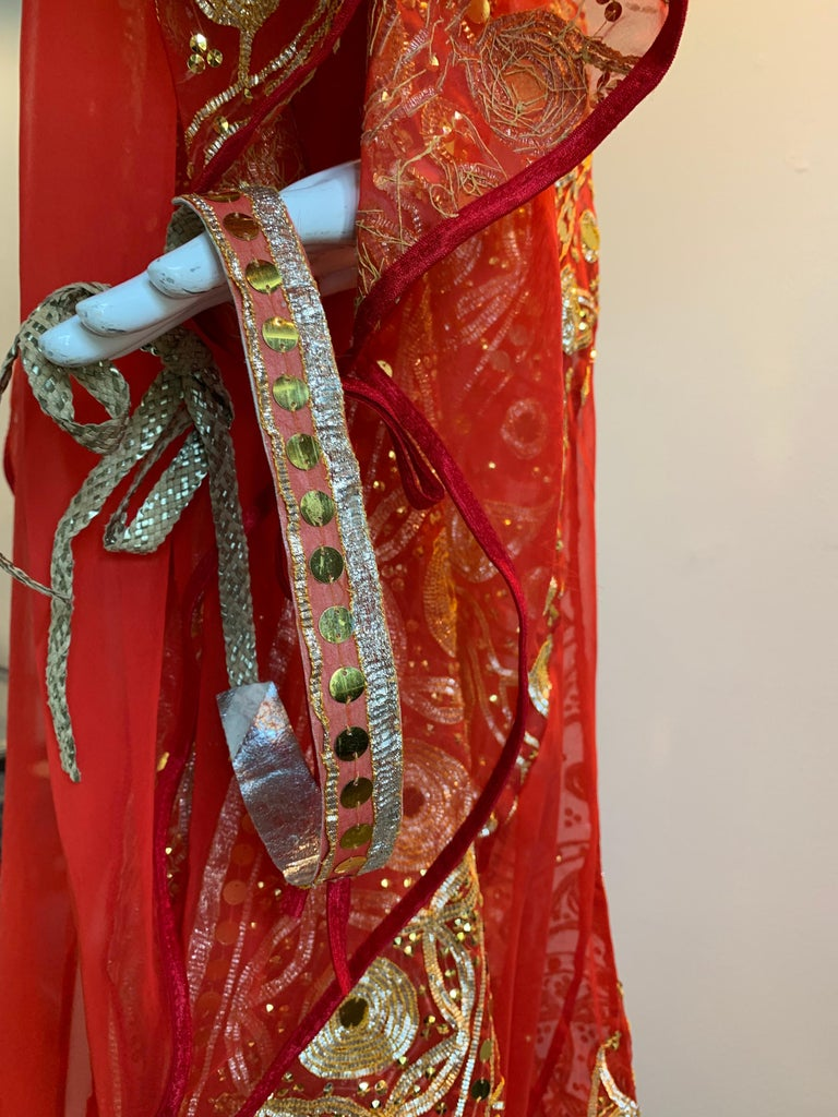 Torso Creations Red Silk Chiffon Caftan Heavily Embroidered W/ Gold & Sequins For Sale 14