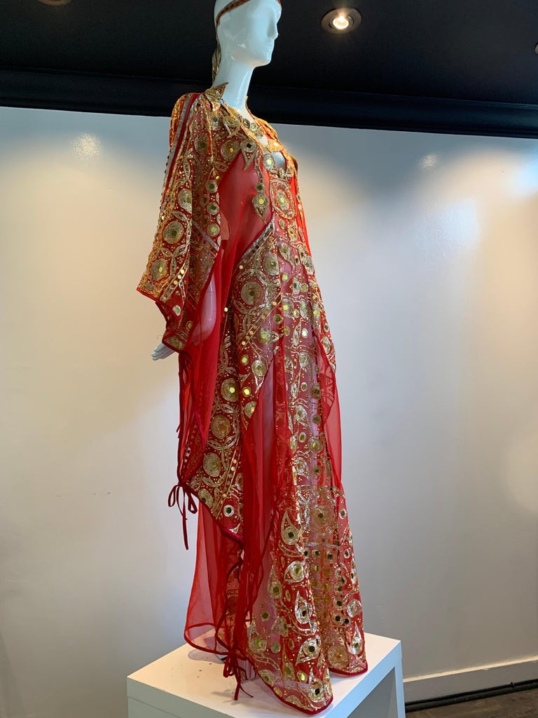 Brown Torso Creations Red Silk Chiffon Caftan Heavily Embroidered W/ Gold & Sequins For Sale