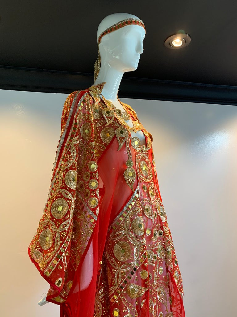 Torso Creations Red Silk Chiffon Caftan Heavily Embroidered W/ Gold & Sequins In Excellent Condition For Sale In San Francisco, CA
