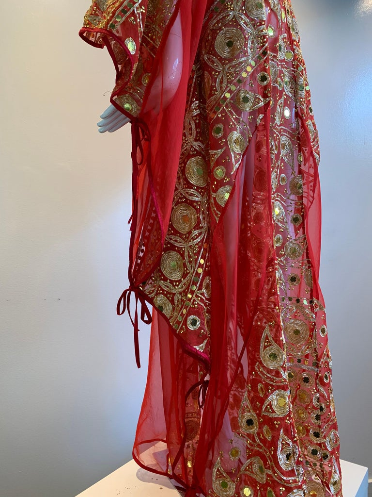 Women's Torso Creations Red Silk Chiffon Caftan Heavily Embroidered W/ Gold & Sequins For Sale