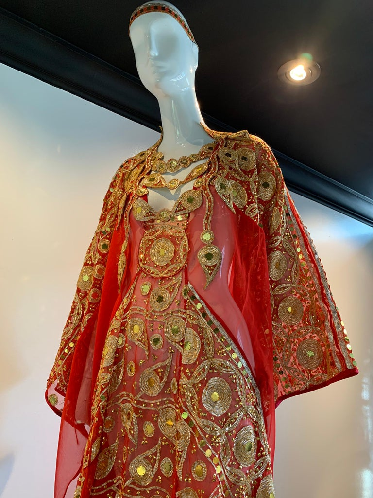 Torso Creations Red Silk Chiffon Caftan Heavily Embroidered W/ Gold & Sequins For Sale 1