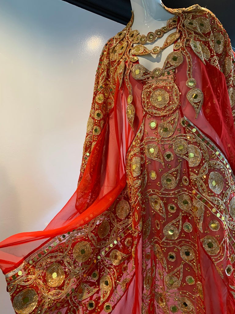 Torso Creations Red Silk Chiffon Caftan Heavily Embroidered W/ Gold & Sequins For Sale 2
