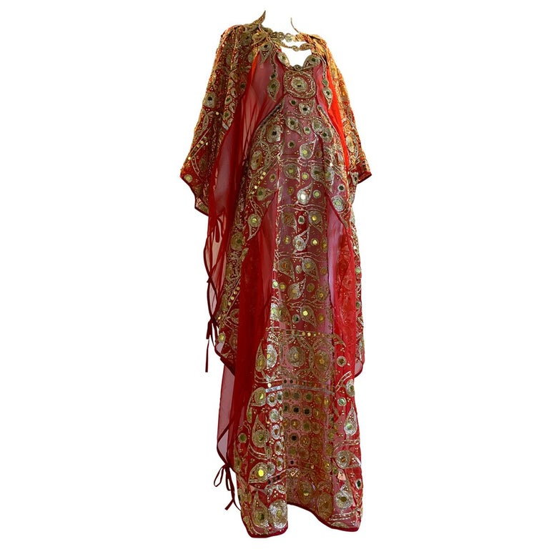 Torso Creations Red Silk Chiffon Caftan Heavily Embroidered W/ Gold & Sequins For Sale