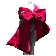 Torso Creations Shocking Pink & Baby Blue Silk Satin Bow Evening Stole