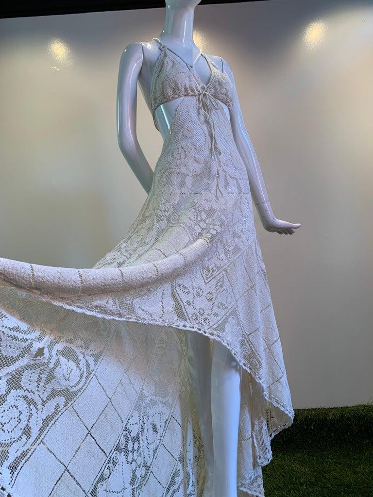 Torso Creations Summer Cotton Lace Dress W/ Daring Side Plunge & Bikini-Top For Sale 10