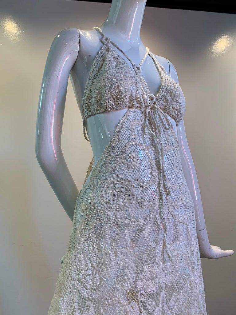 Torso Creations Summer Cotton Lace Dress W/ Daring Side Plunge & Bikini-Top For Sale 11