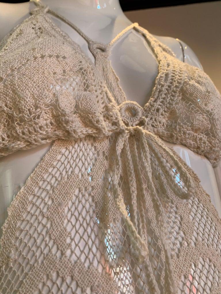 Torso Creations Summer Cotton Lace Dress W/ Daring Side Plunge & Bikini-Top For Sale 12