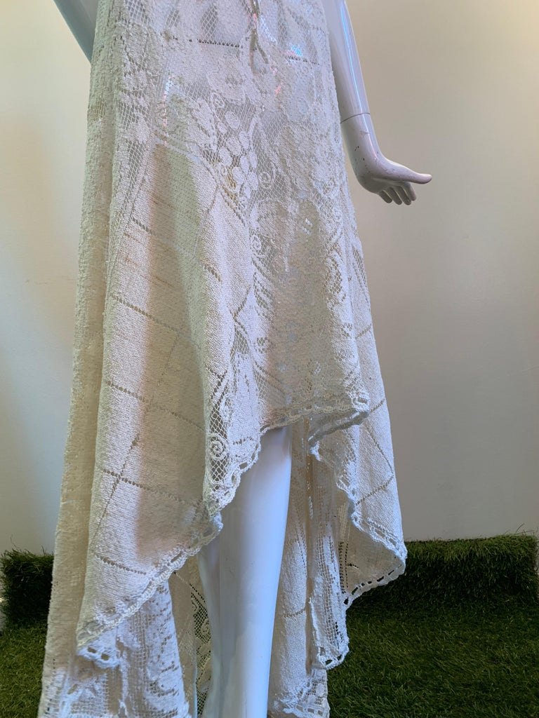 Torso Creations Summer Cotton Lace Dress W/ Daring Side Plunge & Bikini-Top For Sale 13