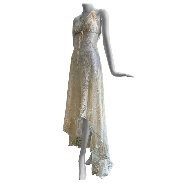 Torso Creations Summer Cotton Lace Dress W/ Daring Side Plunge & Bikini-Top For Sale