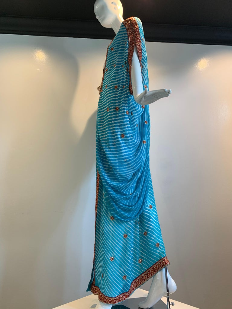 Torso Creations Turquoise Silk Embroidered Double-Layered Caftan W/ Drawstring For Sale 7