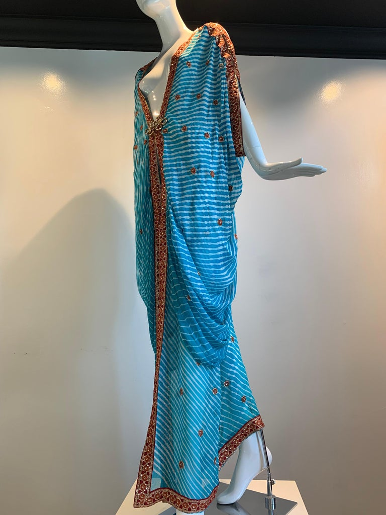 Torso Creations Turquoise Silk Embroidered Double-Layered Caftan W/ Drawstring For Sale 10