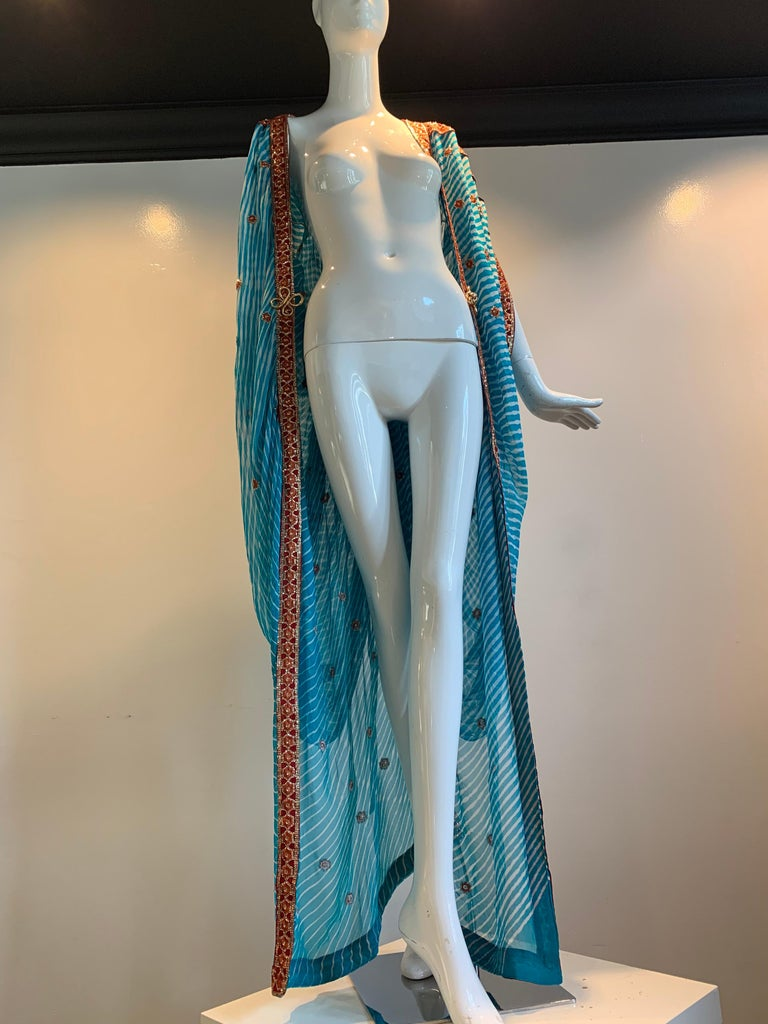 Torso Creations Turquoise Silk Embroidered Double-Layered Caftan W/ Drawstring For Sale 11