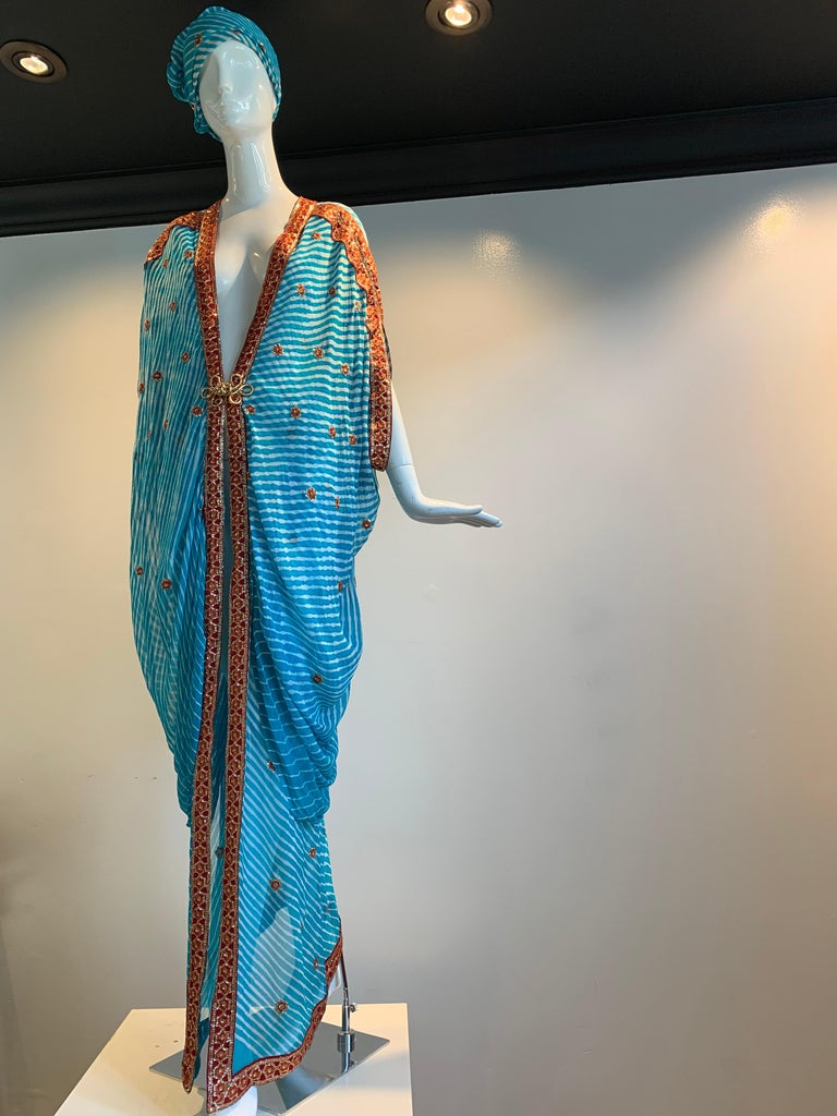 Torso Creations Turquoise Silk Embroidered Double-Layered Caftan W/ Drawstring For Sale 14