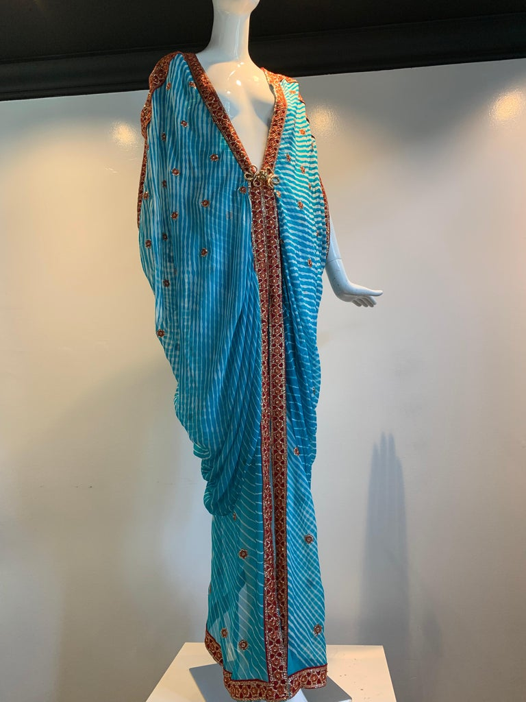 Blue Torso Creations Turquoise Silk Embroidered Double-Layered Caftan W/ Drawstring For Sale