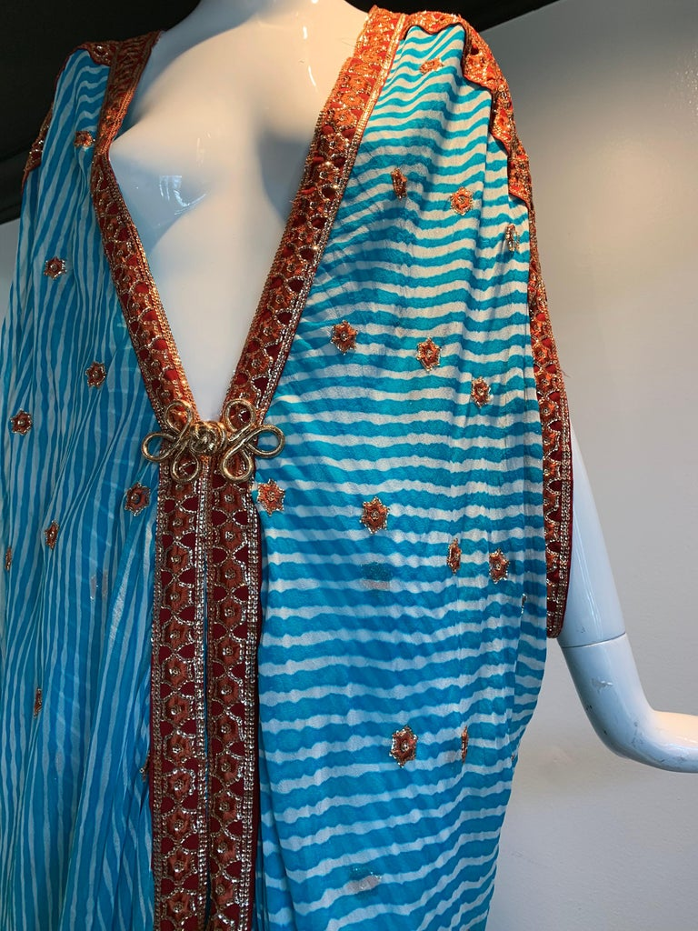 Women's Torso Creations Turquoise Silk Embroidered Double-Layered Caftan W/ Drawstring For Sale