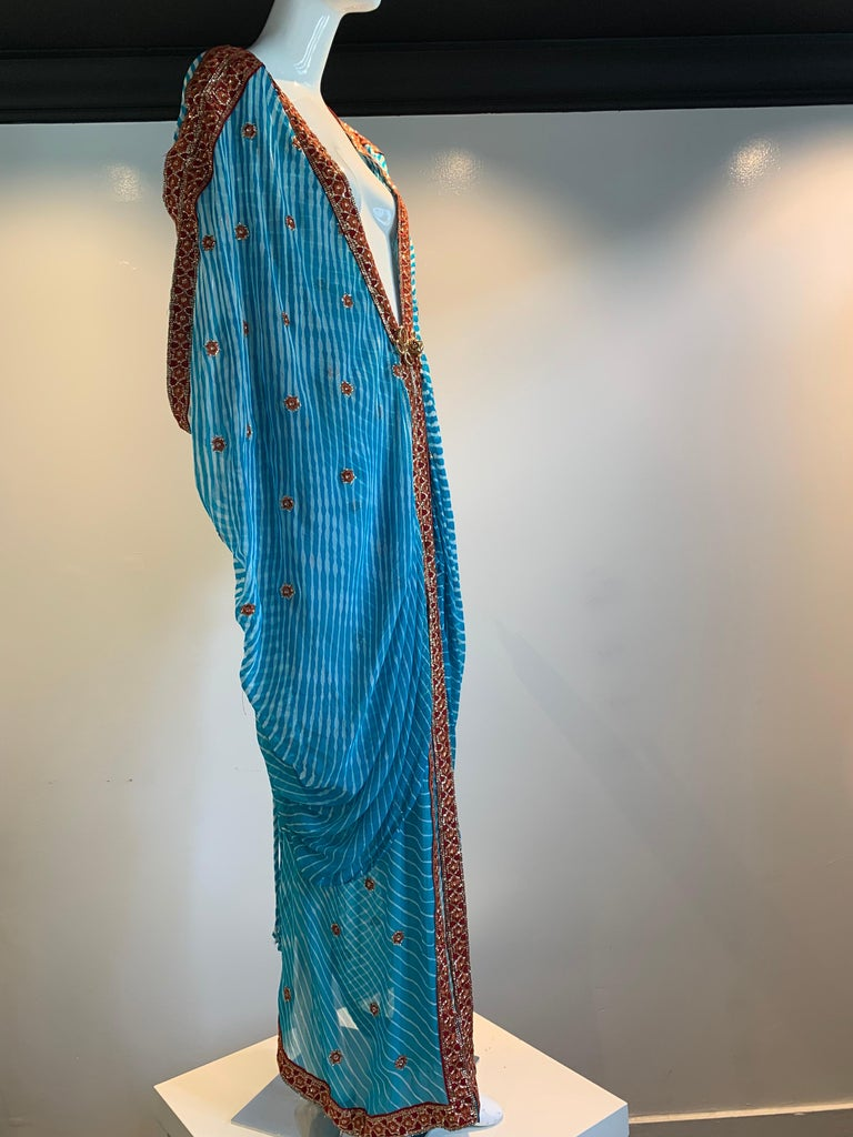 Torso Creations Turquoise Silk Embroidered Double-Layered Caftan W/ Drawstring For Sale 1
